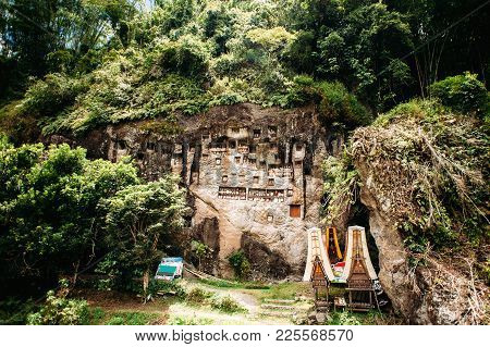 Old Torajan Burial Site In Lemo, Tana Toraja. The Cemetery With Coffins Placed In Caves Carved Into
