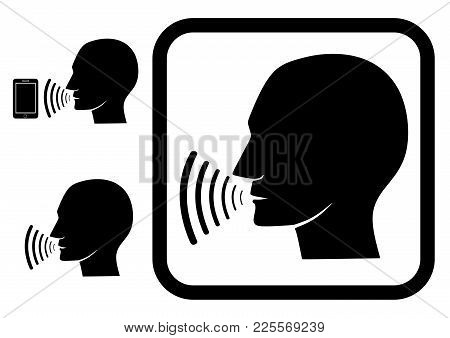 Voice Command (sign, Symbol, Icon, Emblem) Graphic With Image Of Human Profile And Voice