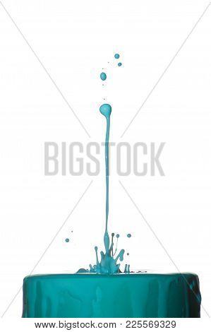Splash Of Blue Liquid Isolated On White Background