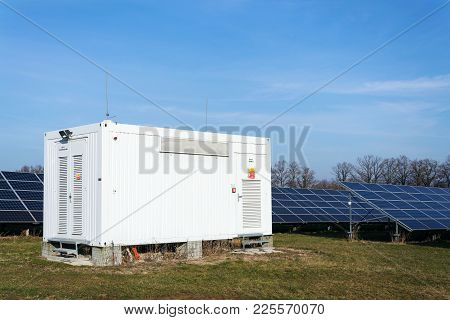 Distribution Point At Solar Panels Photovoltaics Power Station, Energy Innovation