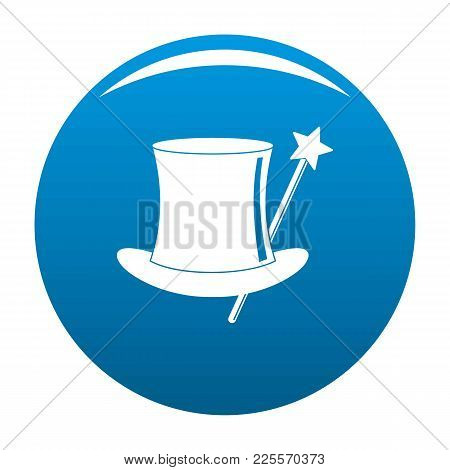 Hat With A Wand Icon Vector Blue Circle Isolated On White Background