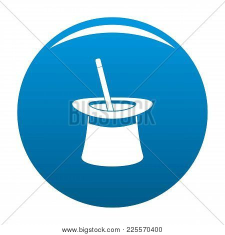 Wand In Hat Icon Vector Blue Circle Isolated On White Background