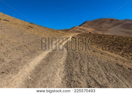 Mountain Trail In The Himalayas, Lower Mustang, Nepal
