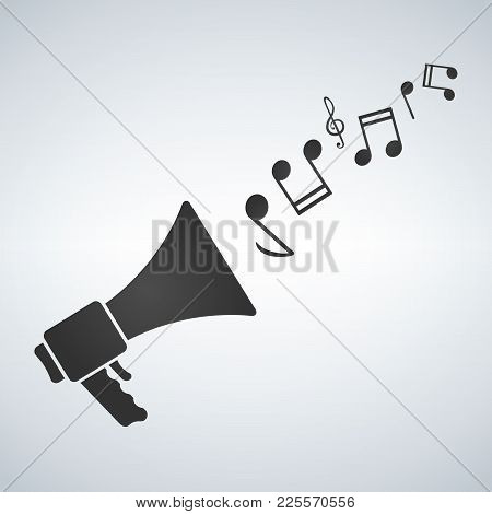 Loudspeaker With Melody Notes Icon Vector, Stock Vector Illustration Flat Design Style