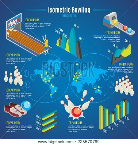 Isometric Bowling Infographic Template With Pins Balls Shoes Player Lane World Map And Graphs Vector