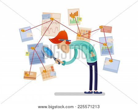 Financial Analyst With Magnifying Glass. Man Looking At Charts And Diagrams. Vector Illustration