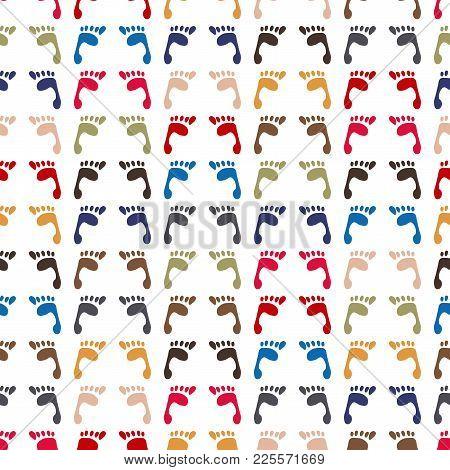 Human Foot Print Seamless Pattern Background. Footprint Vector Illustration.