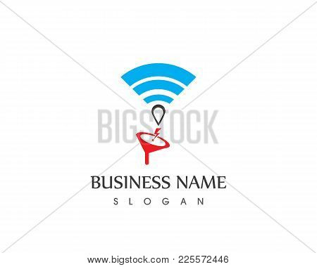 Wireless Connection Icon Business Logo Design Template