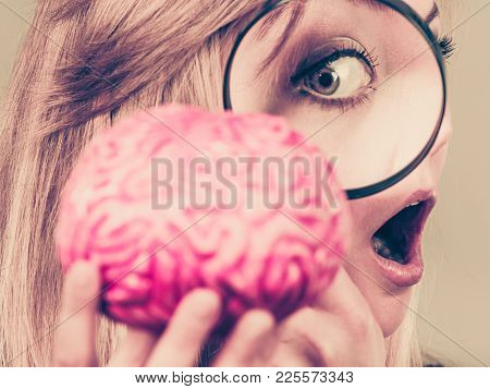 Blonde Woman Holding Magnifying Glass Investigating Something And Looking Closely At Fake Brain, Clo