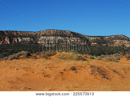 A Beautiful Panorama Of The Colorful Mountains, Cliffs, Canyons And Hill In Arizona With Ample Space