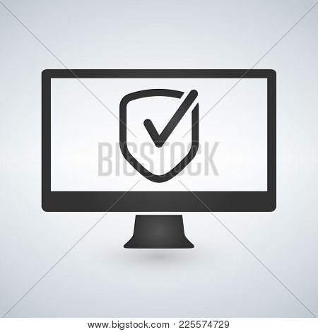 Computer Approve Checkmark In The Shield Icon, Vector Illustration