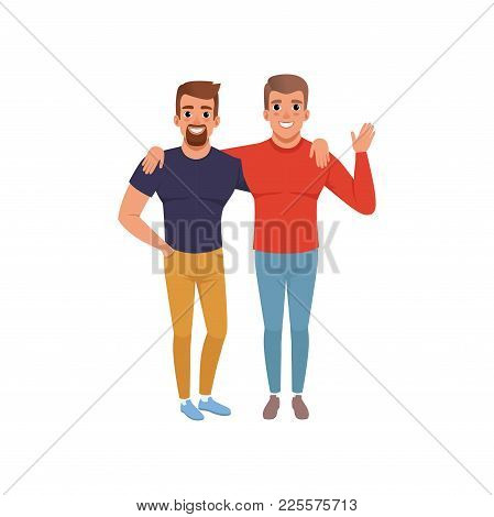 Happy Smiling Young Men Friends Standing Together, Close Friends Embracing And Smiling Vector Illust