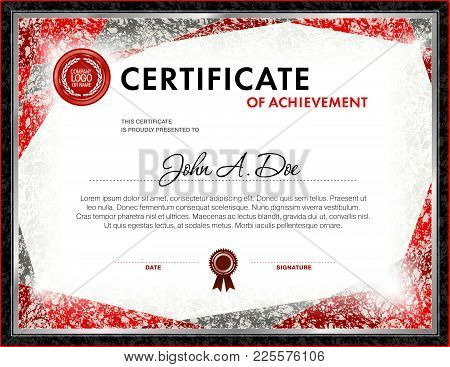 Certificate Of Achievement Blank Template. It Can Be Use As Design For Honor, Award Or Other Officia