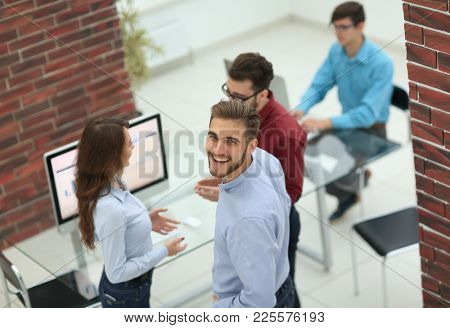 Business people discuss something at the meeting at the modern o