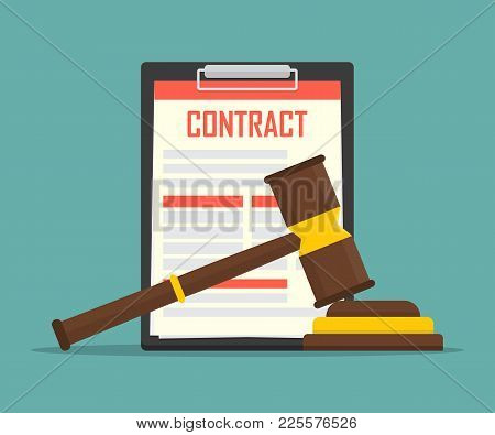 Contract Law Concept Of Legal Regulation Judicial System Business Agreement Law-suit.