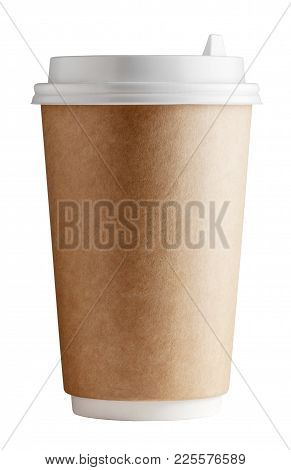 Front View And Close-up Of Cup With Lid For Hot Beverage On White Background. Studio Shot With Clipp