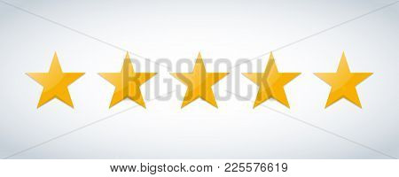 Five Stars Customer Product Rating Review Flat Icon For Apps And Websites.