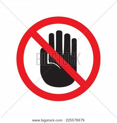 Forbidden Sign With Stop Hand Glyph Icon. No Entry Prohibition. Do Not Touch. Silhouette Symbol. Neg