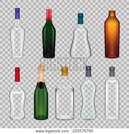 Realistic Templates Glasses Bottles: Wine, Cognac, Whiskey, Vodka, Tequila, Champagne, Beer, Martini