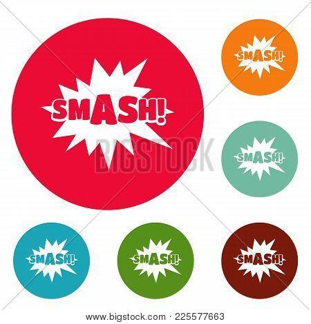 Comic Boom Smash Icons Circle Set Vector Isolated On White Background