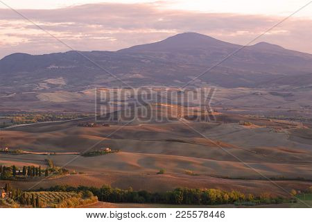 Tuscany, Italy - September 23, 2017: September Evening In The Vicinity Of Pienza
