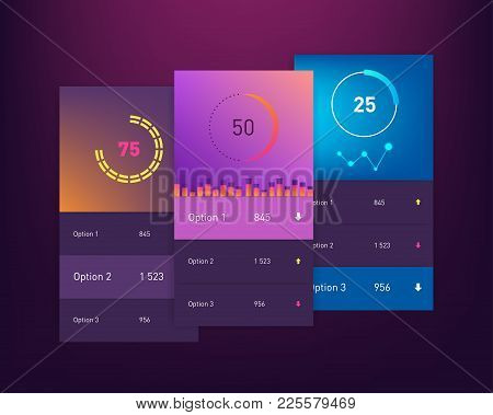 Dashboard Ui And Ux Kit. Bar Chart And Line Graph Designs. Different Infographic Elements. Dark Back