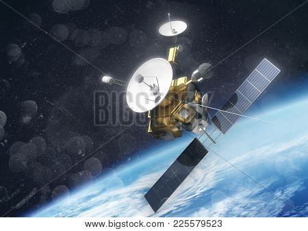 A Satellite Probe In Space Orbiting Planet Earth. 3d Illustration.