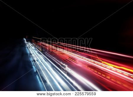 Fast Moving Traffic Light Trails, Long Exposure Effect. 3d Illustration.