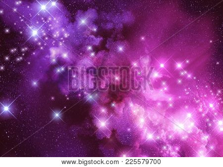 Wonder And Space. Distance Stars And Nebula Dust Clouds. Raster Illustration.