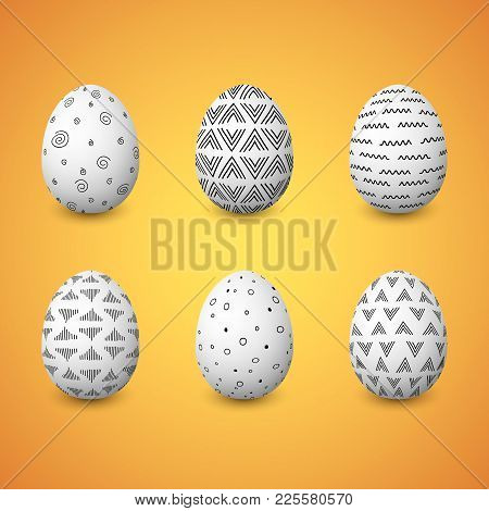 Happy Easter. Set Of Colorful Easter Eggs With Different Simple Textures On White Background. Spring