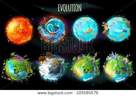 Vector Cartoon Fantastic Planet Earth, World Evolution Set. Cosmic, Space Element Game, Timeline Inf