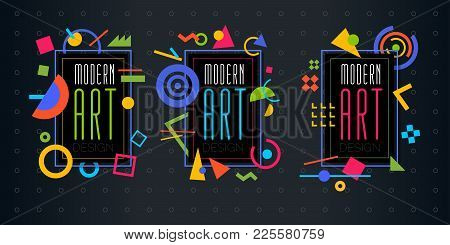 Vector Abstract Geometric Dynamic Pattern Frame. Frame For Text Modern Art Graphics Memphis Elements