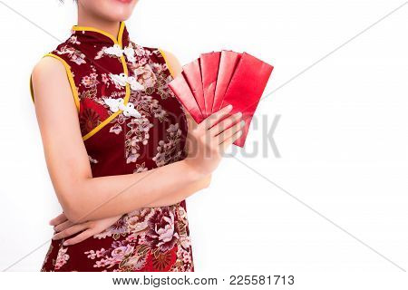 Close Up Red Packet Of Moneys In Woman Hands And Holding Packet Of Moneys Gesture In Chinese New Yea