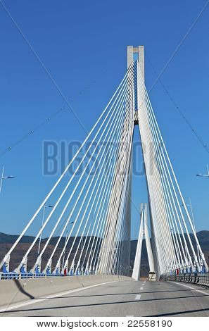 Cable stayed bridge of Patras city in Greece. Also called Rion-Antrion bridge. poster
