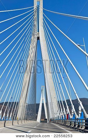 Cable stayed bridge in Greece.