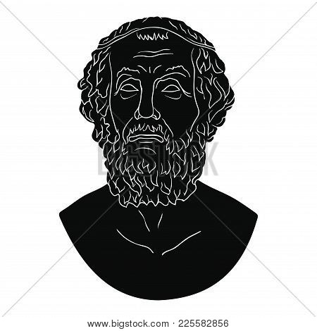 Ancient Greek Bust Of The Poet Homer Isolated On White Background.