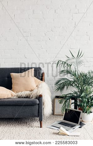 Comfy Couch In White Living Room Interior With Brick Wall, Mockup Concept