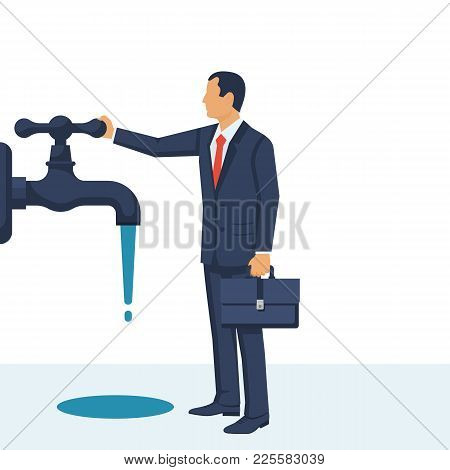 Save Water Concept. Businessman Closes Hand Faucet. Shut Off The Water. Vector Illustration Flat Des