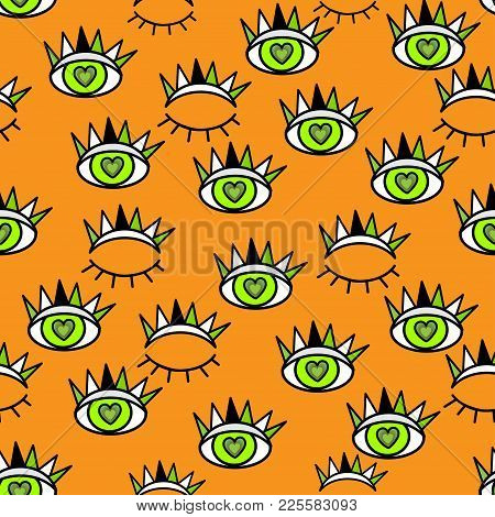 Abstract Seamless Sport Eyes Pattern For Girls, Boys. Creative Sport Pattern With Close And Open Eye