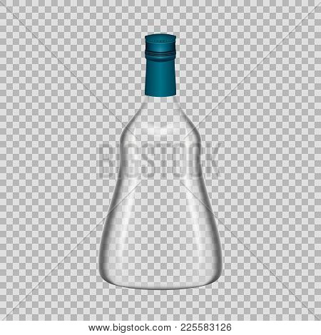 Realistic Template Of Empty Glass Cognac Bottle With Screw Cap. Template, Breadboard, Glass Package,