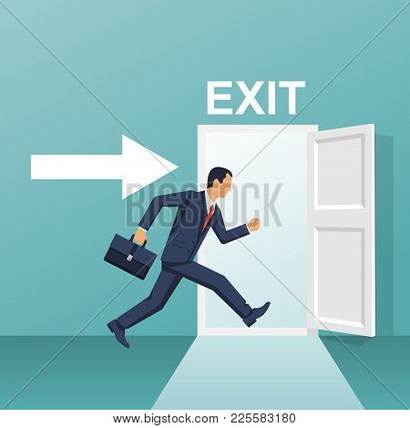 Businessman Runs Into Open Door. Symbol Exit. Human Is Running From Work. Evacuation Sing. Vector Il