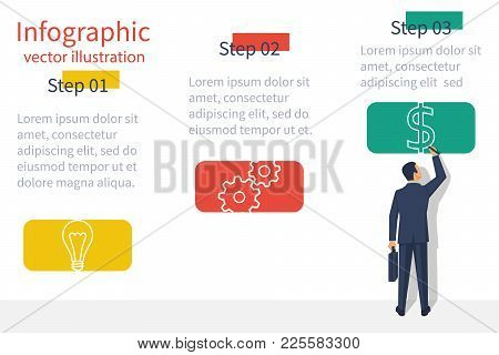 Presentation Information Structure. Template Infographic. Business Planing. Businessman Is Presentin
