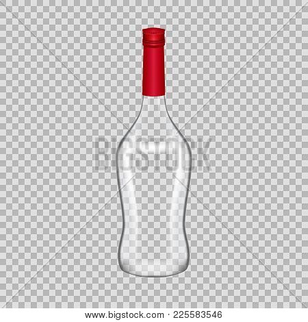 Realistic Template Of Empty Glass Martini Bottle With Screw Cap. Template, Breadboard, Glass Package