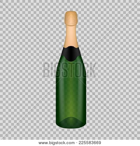 Realistic Template Of Empty Glass Champagne Bottle With Screw Cap. Template, Breadboard, Glass Packa