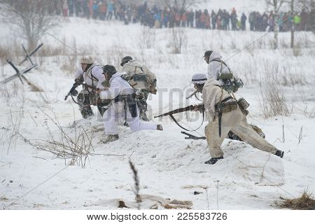 Saint Petersburg, Russia - January 15, 2017: Attacking The German Infantry Of The Second World War P