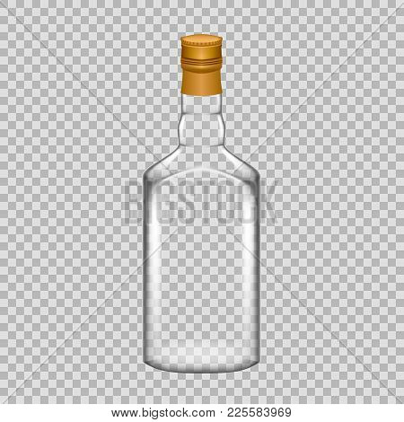 Realistic Template Of Empty Glass Whiskey Bottle With Screw Cap. Template, Breadboard, Glass Package