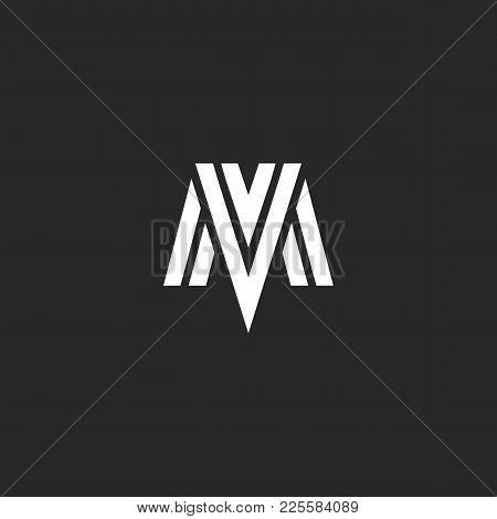 Logo Mv Letters Elegant Monogram, Combination Initials M And V, Overlapping Linear Symbols Vm Mark C