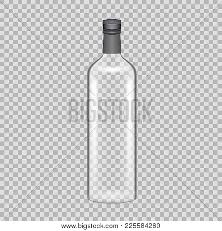 Realistic Template Of Empty Glass Tequila Bottle With Screw Cap. Template, Breadboard, Glass Package