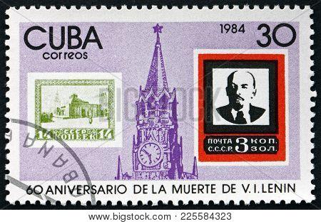 Cuba - Circa 1984: A Stamp Printed In Cuba Shows Spasski Tower, Russia, And Lenin, 60th Death Annive