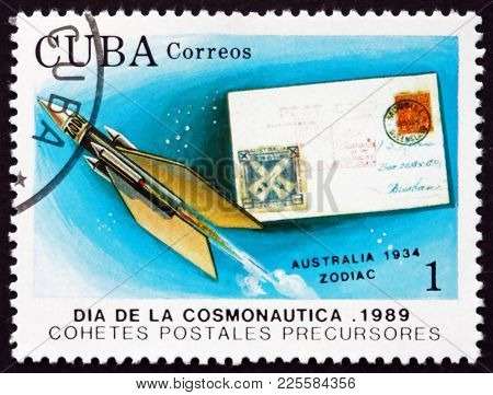Cuba - Circa 1990: A Stamp Printed In Cuba Shows Zodiac, Spacecraft And Rocket Mail Cover From Austr